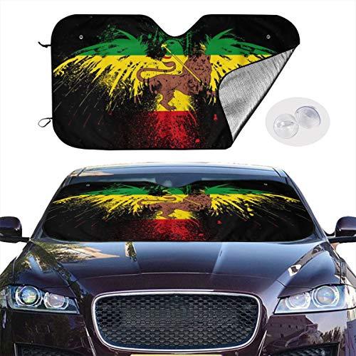 Front Car Sunshade Windshield Lion Rasta Flag Sunshades for Car Foldable UV Ray Reflector Auto Front Window Sun Shade Visor Shield Cover, Keeps Vehicle Cool (51.2