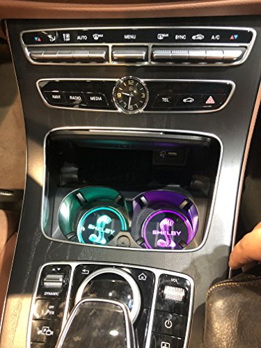 JSAMZ Car Logo LED Cup Pad led Cup Coaster USB Charging Mat Luminescent Cup Pad LED Mat Interior Atmosphere Lamp Decoration Light (Shelby)