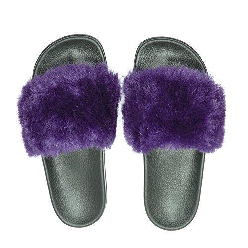 NewYouDirect SandalsSlippers, Fashion Women and Men Flip Flop Fur Slide Slip On Flats Shoes (9B(M) US, Purple) -