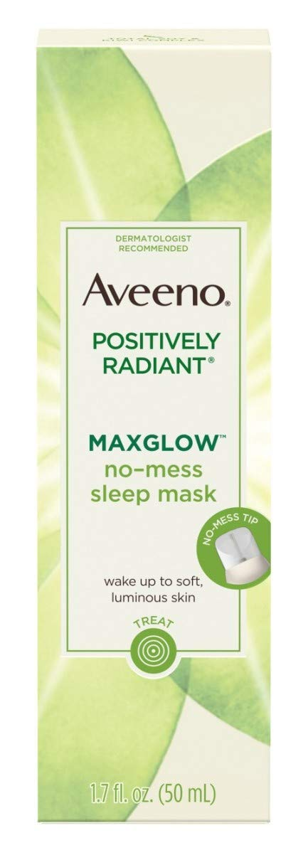 Aveeno Positively Radiant Max Glow Sleep Mask 1.7 Ounce (50ml) (2 Pack)