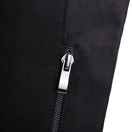 Allhqfashion Women's Solid High-Heels Closed Round Toe Imitated Suede Zipper Boots Black A0LZtzkgy2