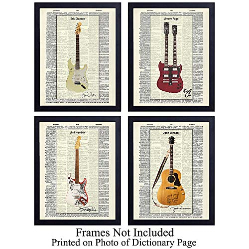 (Famous Musicians Guitar - Unframed Dictionary Wall Art Print - Great Gift for Music and Rock n Roll Fans - Cool Home Decor - Lennon, Hendrix, Page, Clapton - Ready to Frame (8x10) Vintage Photo)