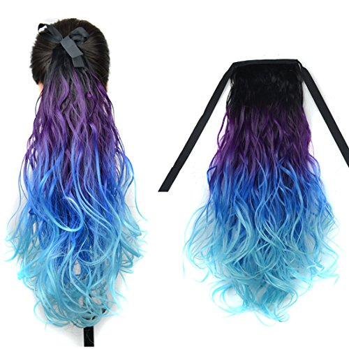 DENIYA Ombre Wavy Ponytail Hair Extensions Wedding Hairpieces for Women