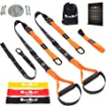 Resistance Straps Trainer Bundle | Complete BodyWeight Training Straps Kit + Wall Mount Bracket + 3 Exercise Loop Bands | Five Anchoring Solutions with Easy Setup for Home, Gym & Outdoors Workouts