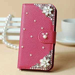 Hot sell! Caselo New Design 3D Bling PU Leather Wallet with Credit Card Slot Flip Diamond Case Cover for Samsung Galaxy S4 mini i9190