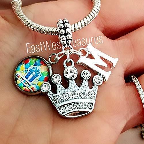 Initial Monogram Birthday Tiara Princess charm bracelet and necklace and keychain-Custom jewelry gift