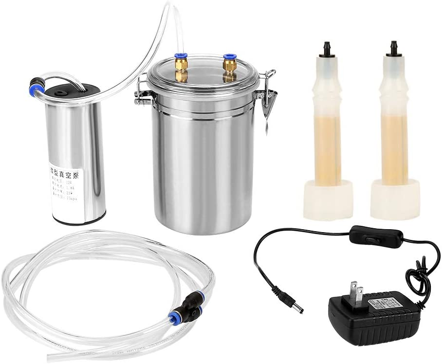 Electric Milking Machine,2L Portable Stainless Steel Milker for Sheep Cows (110-240V)(4#)