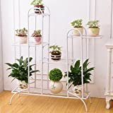 ALUS- European Style Iron Flower Rack Indoor And Outdoor Living Room Balcony Multilayer Multifunction Flower Pot Rack (Color : White)