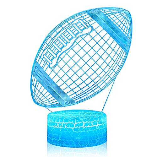 3D Illusion American Football Rugby Night Lamp, 7 Color Change, Touch White Crack Base