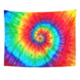 Emvency Tapestry Colorful Rainbow Spiral Tie Dye Pattern Color Home Decor Wall Hanging for Living Room Bedroom Dorm 60x80 Inches