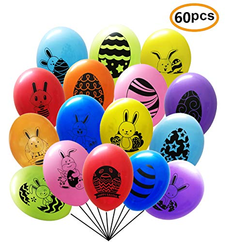 (Easter Decorations Easter Balloons Colorful Latex Balloons for Happy Easter Party Supplies Double-Side Design with Bunny and Egg 60 Pack (Colorful)