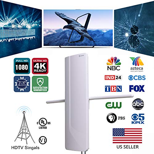 ANTOP Outdoor TV Antenna Smartpass Amplified Booster 70 Miles Long Range Multi Directional, High Gain Detachable VHF Band Enhanced Rods with 40ft Coax Cable and High Definition 2-Way Signal Splitter