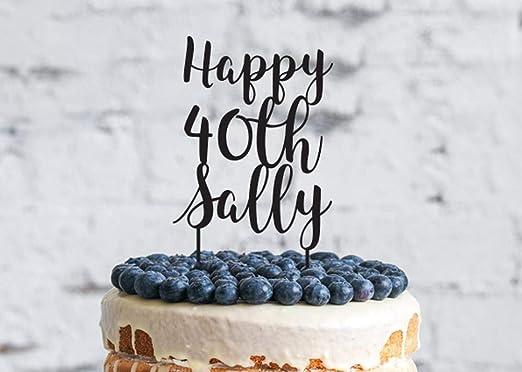 Pleasing Amazon Com Funny 40Th Birthday Custom Name Birthday Cake Topper Personalised Birthday Cards Cominlily Jamesorg