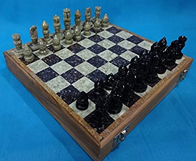 Artist Haat Rajasthan Stone Art Unique Chess Sets and Board - Indian Handmade Unique Gifts - (Size 16 x 16 Inches)