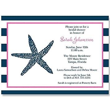 Amazoncom Nautical Bridal Shower Invitations Starfish Pink