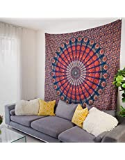 Mandala Tapestry Aesthetic Room Decor: Blue & Red Bohemian Wall Decor Tapestries for Bedroom. Indian Tapestry Wall Hanging, Hippie Sheet for Wall Covering Fabric, Psychedelic Indie Living Room Décor