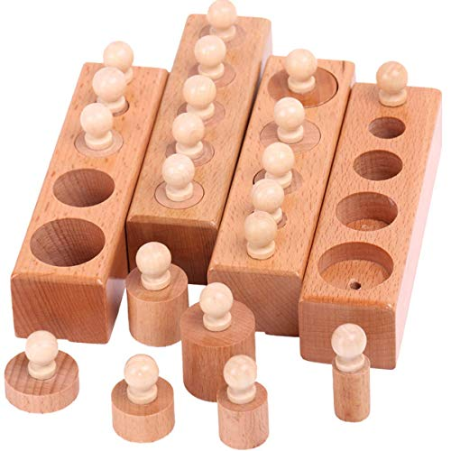 (Alikeke Wooden Toys Montessori Educational Cylinder Socket Blocks Toy Baby Development Practice and Senses)
