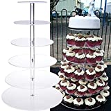6 tier cupcake stand - Oanon Round Crystal Clear Acrylic Cupcake Stand Wedding Display Cake Tower[US STOCK] (6 Tiers, Clear)