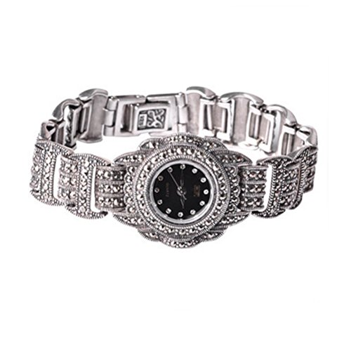 - Sterling Silver Wristwatch Luxury Vintage Watch 925 Silver Bracelet with Marcasite Jewelry