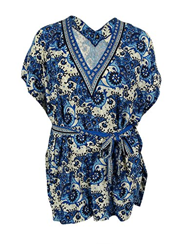 MICHAEL Michael Kors Women's Belted V-Neck Tunic Cover-Up (M/L, New Navy) Belted V-neck Tunic