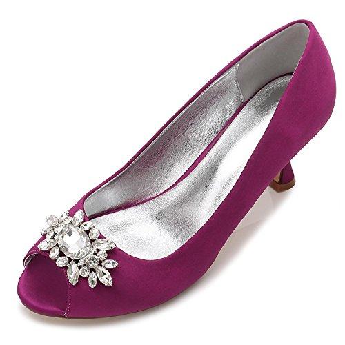L@YC Zapatos De Boda De Las Mujeres F17061-57 Rhinestone Con El Vestido De Las SeñOras Zapatos Del SalóN De Fiesta Del SatéN De La Hebilla Purple
