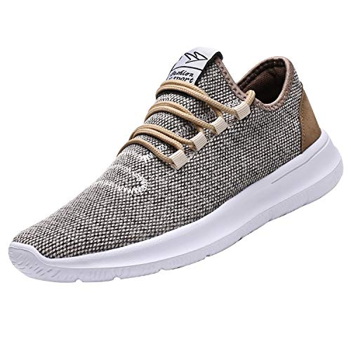 KEEZMZ Men's Running Shoes Fashion Breathable Sneakers Mesh Soft Sole Casual Athletic Lightweight (12, Beige) ()