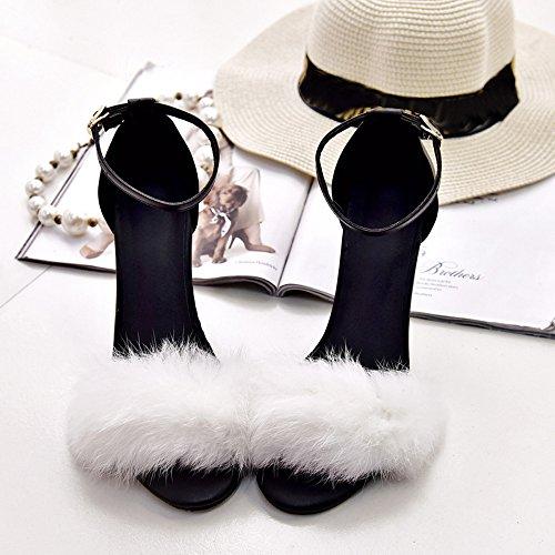 Largo Tacchi Elegante Meibax A Con In Sexy Alti Blanco Spesso Sandali Punta Tacco Scarpe Aperta Peluche Donna qxSPwzZE