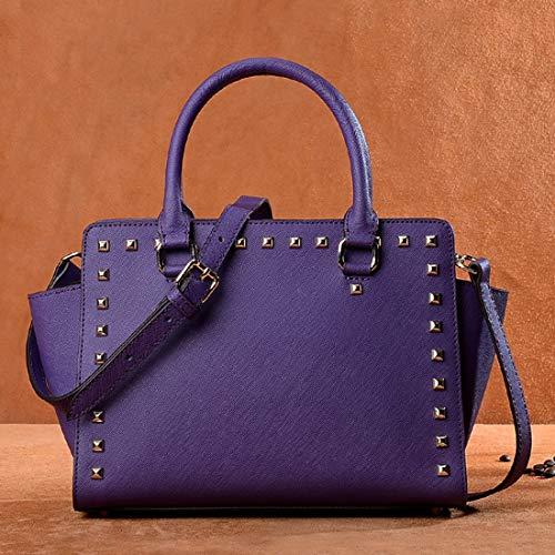 De Genuina Bolso Blue Superior Cuero Asa color Con Bandolera Hungrybubble Genuino Purple Piel 0E4wqT0