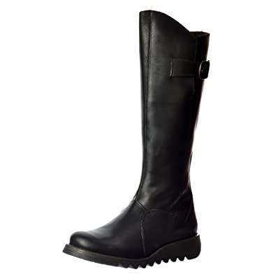 ae59d30cb427 FLY London MOL 2 Knee High Leather Winter Boot - Low Wedge Cleated Sole -  Rug