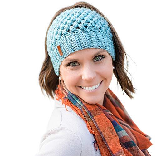 - COGGIFEL Winter Ponytail Hat Messy Bun Beanie Knitted Hats Cap Warm Soft Handmade Knit Hat for Women