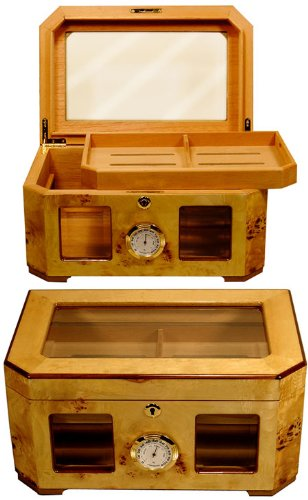 Cuban Crafters Palacio Burl Wood Cigar Humidor 150 Count (Humidor Crafters Cuban)