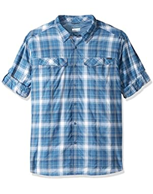 Men's Big-Tall Silver Ridge Plaid Long Sleeve Shirt, Steel Window Pane, 3XT