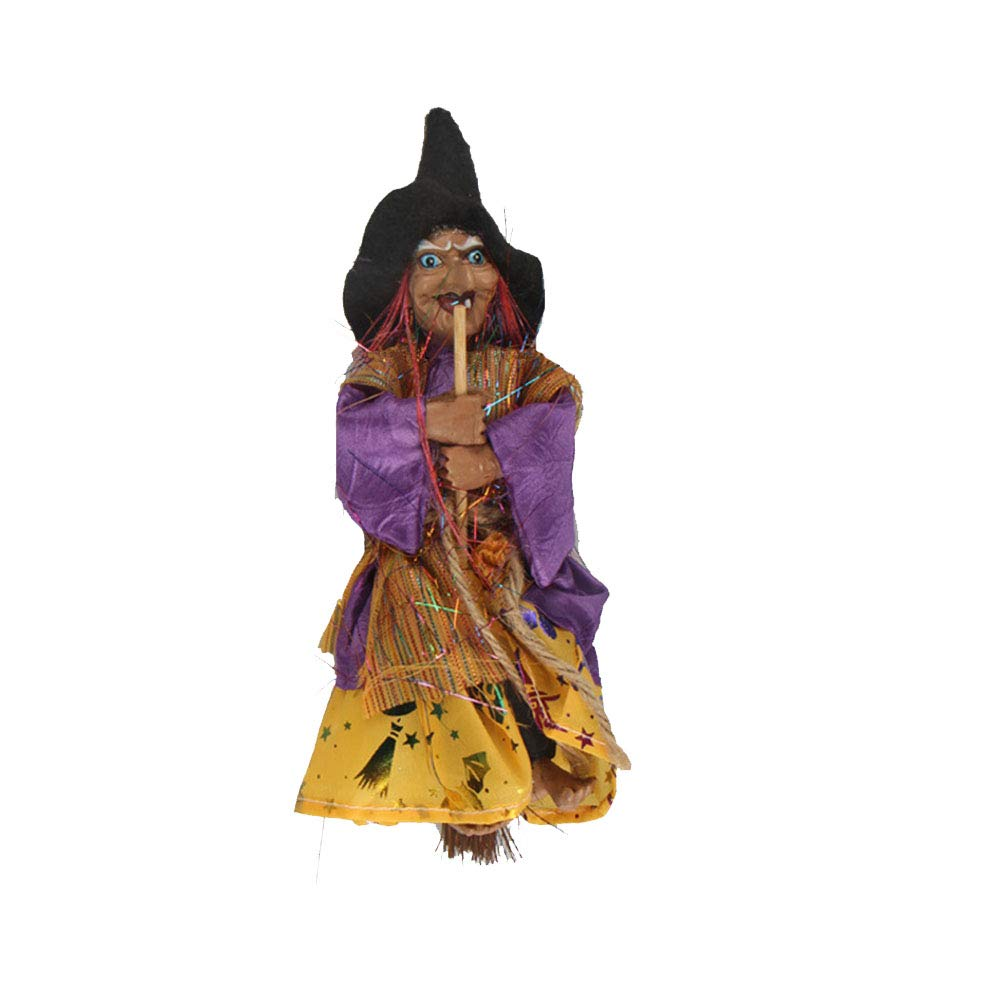 Yellow BESTOYARD Halloween Decoration Hanging Witch Horror Hanging Flying Witch Figurine Ornaments Pendant for Patio Lawn Garden Holiday Party