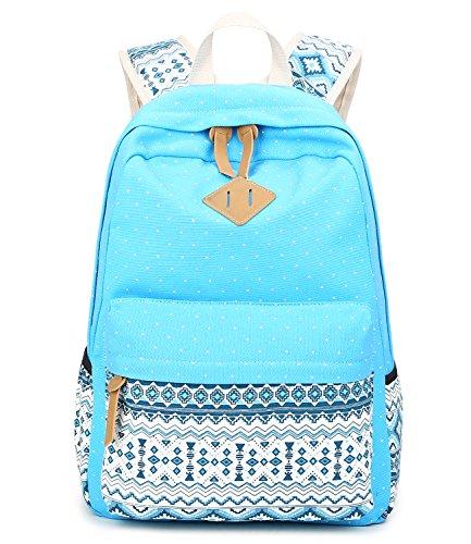 Abshoo Cute Lightweight Canvas Bookbags School Backpacks for Teen Girls (Sky Blue)]()