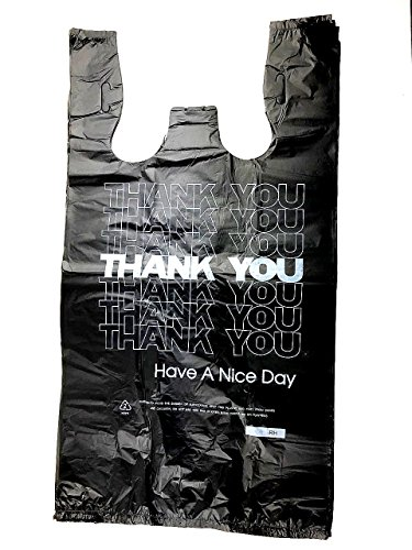 - 1/6 T-shirt Bag Large 12 X 6 X 21 (1000, Thank you BLK)