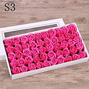 CoronationSun - Roses Artificial - 50pcs Roses Artificial Flowers Wedding Decoration DIY Flower Heads for Wedding Party 21
