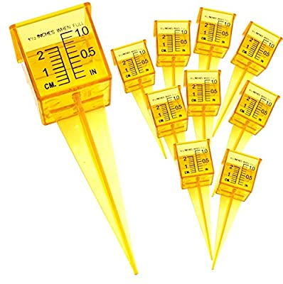 "TEN Pack 1.5"" Rain Gauge / Sprinkler Gauge, Wide Mouth, Bright Yellow Outdoor Water Measuring Tool 10 Piece"
