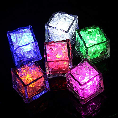 Euone  LED Ice Cubes Clearance , 12 pcs Party Decorative LED Ice Cubes Light Multicolor Liquid Sensor Bar Party Lighted Dolls -