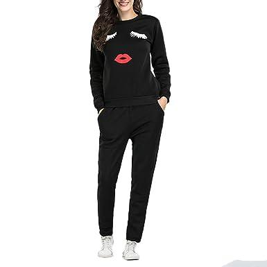 Sfit 2 Pièces Ensemble Femme Survêtement Sports Sweat Pull Manche Longue et Pantalon  Gym Yoga Jogging Fitness Taille Haute Imprime Respirable Casual pour ... 0e0b8ed75a5