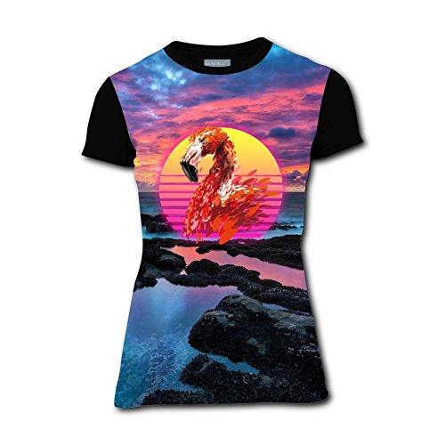 Elk Elliptical - Women's T Shirts Funny Stitching Flamingos 3D Short Sleeve Tees 3XL