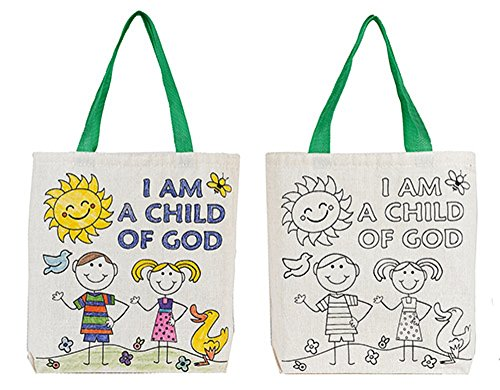 I am a Child of God Color Your Own Tote Bag - (Catholic Tote Bag)