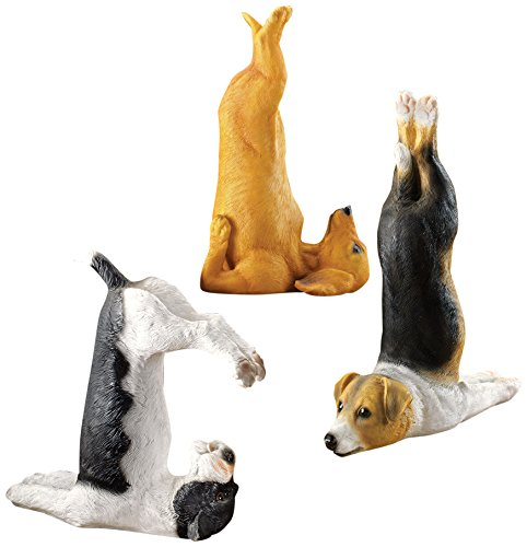 Design Toscano The Zen of Canine Yoga Dog Statues, Set of 3 (Sculpture Dog Puppy Garden)