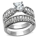 FlameReflection Vintage Style Stainless Steel CZ Bridal Wedding Ring Set Size 5-10 SPJ