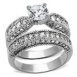 Vintage Style Stainless Steel CZ Bridal Wedding Ring Set Size 5-10 SPJ