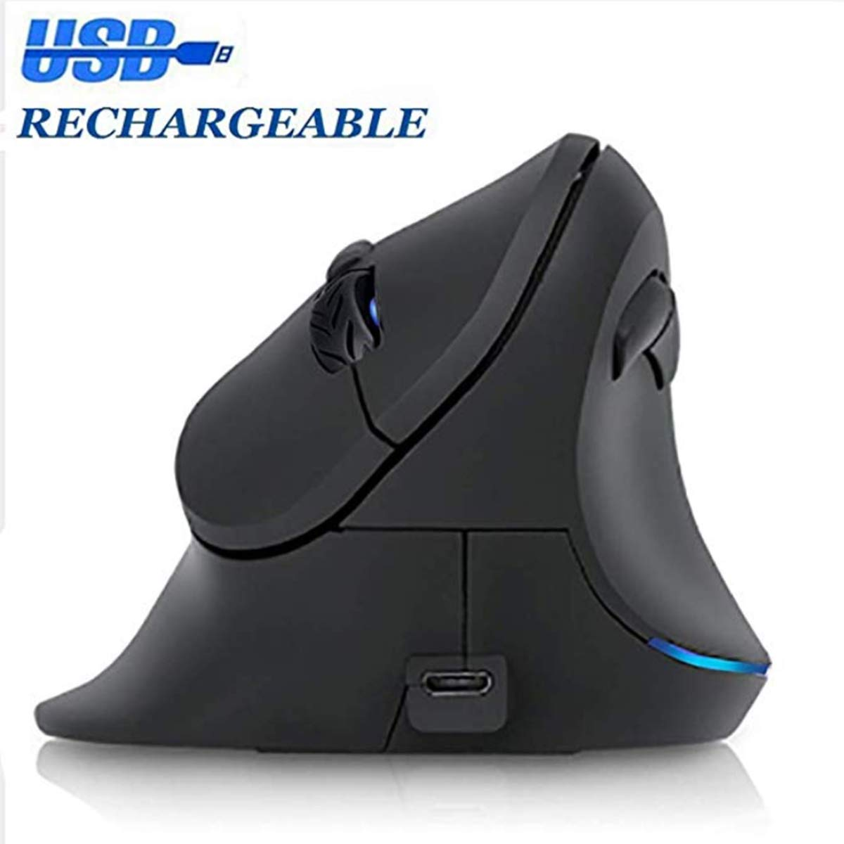 Rechargeable Ergonomic Mouse, TOP SKY Vertical Wireless Mouse, Ergonomic Mouse Adjustable 1000 1200 1600 DPI, 6 Buttons 2.4GHz Right Hand Optical Mouse with USB Connection for PC Laptop