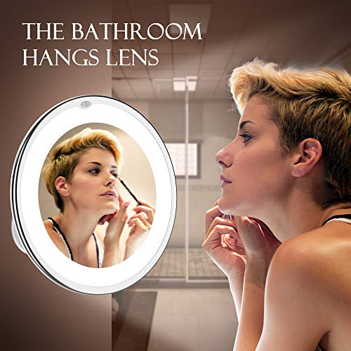 Updated 2019 Version 10X Magnifying Makeup Vanity Mirror With Lights, LED Lighted Portable Hand Cosmetic Magnification Light up Mirrors for Home Tabletop Bathroom Shower Travel