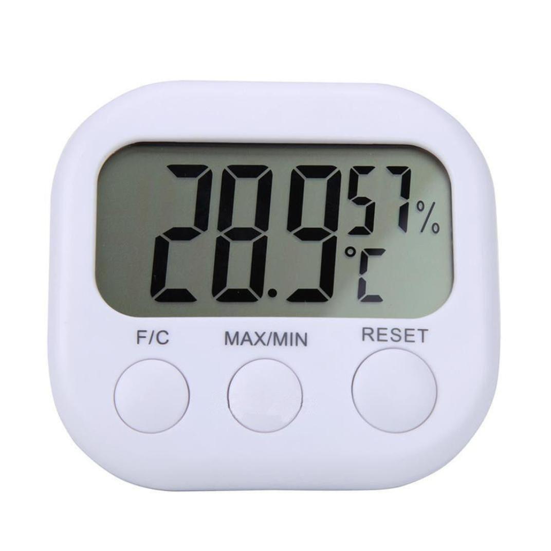 White Digital LCD Indoor Thermometer Hygrometer Gauge Clock ...