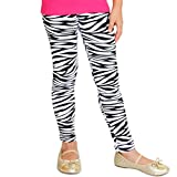 Stretch is Comfort Girl's Footless Leggings Zebra Print Small