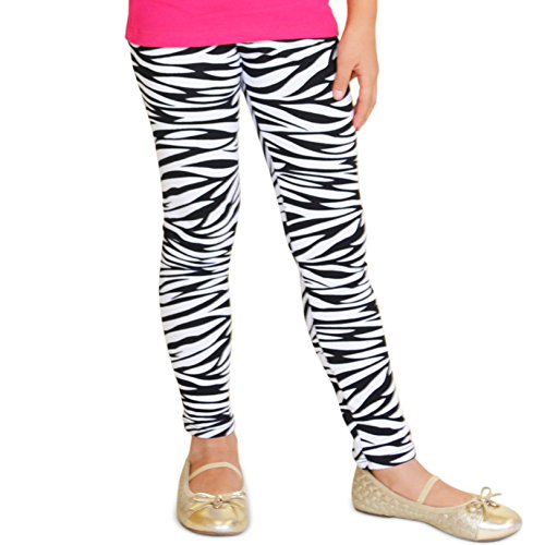 Stretch is Comfort Girl's Footless Leggings Zebra Print X-Large (Zebra Girls Dress)