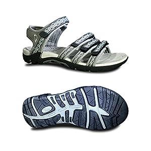Viakix Womens Sport Sandals - Comfortable Athletic Walking Shoes for Outdoors, Water, Hiking, Beach Sandal,Grey,40 M EU / 10 B(M) US